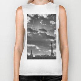 Eiffel tower under the clouds Biker Tank