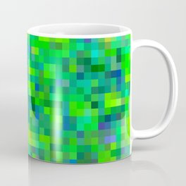 geometric square pixel pattern abstract in green and blue Coffee Mug