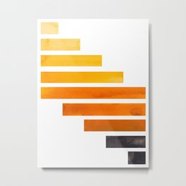 Orange Yellow Ocre Midcentury Modern Minimalist Staggered Stripes Rectangle Geometric Pattern Waterc Metal Print