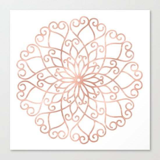 Mandala Rose Gold Pink Flower Canvas Print