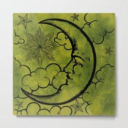 Moon vintage green black Metal Print