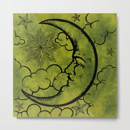 Moon vintage green black Metal Print