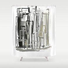Black, White, Light Bronze City Shower Curtain