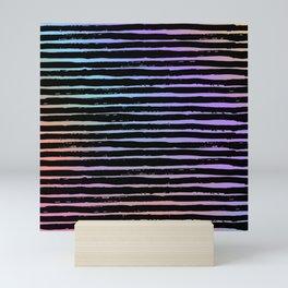 Pink coral lavender watercolor black hand painted stripes Mini Art Print