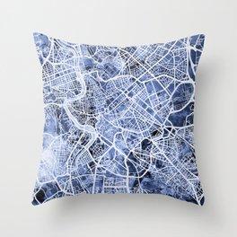Rome Italy City Street Map Throw Pillow