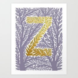 Botanical Metallic Monogram - Letter Z Art Print