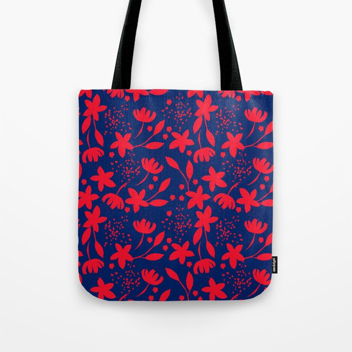 Little flowers blue and red Tote Bag