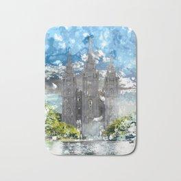 Salt Lake LDS Temple Watercolor Photo Bath Mat