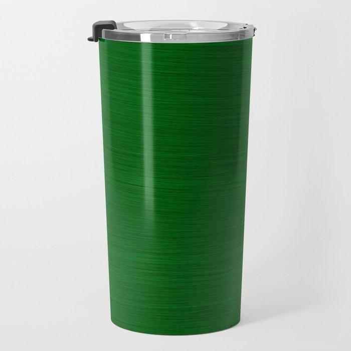 Emerald Green Brush Texture - Solid Color Travel Mug