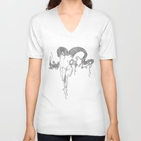 ram V-neck T-shirts featuring RAM by S. Scythe Klein