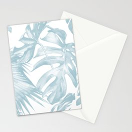 Blue Tropical Palm Leaves Print Stationery Cards