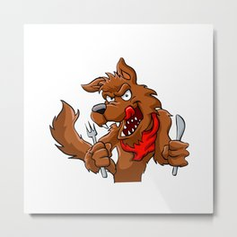 Big bad cartoon wolf. Metal Print