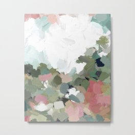 Green Mint Pink Blush Abstract Nature Art Painting Metal Print