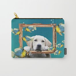 Golden Retriever with frame and tropical Fishes Carry-All Pouch
