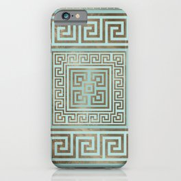 Greek Key Ornament - Greek Meander - Gold and Mint iPhone Case