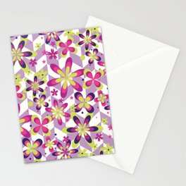 Abstract Art 20 23 Graphic fine art Ornament floral zigzag mixed pink green random Geometry pattern Stationery Cards