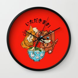Thanks for the food Red background Wall Clock