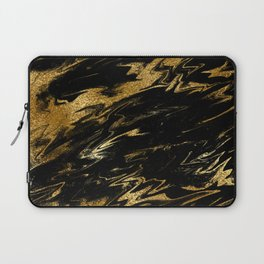 Luxury and sparkle gold glitter and black marble Laptop Sleeve