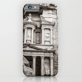 Petra | Black and White Al Khazneh (The Treasury) Incredible Archeological City Jordan iPhone Case