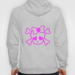 Pink girly emo skull with bow Hoody