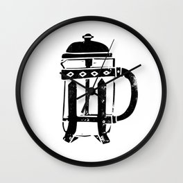 French Press Linocut black and white minimal coffee food printmaking Wall Clock