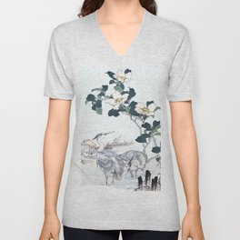 Couple Of Grey Herons And Camellia Flowers - Vintage Japanese Woodblock Print Art By Kono Bairei Unisex V-Neck