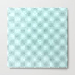 Houndstooth White & Aqua small Metal Print