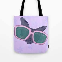 Sphynx Cat in Oversized Sunglasses - Lilac flowers - Funny Hairless Animal Illustration Tote Bag