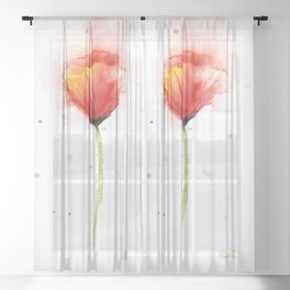 Red Poppy Flower Watercolor Abstract Poppies Floral Sheer Curtain