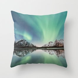 Northern Lights & Mountains Throw Pillow