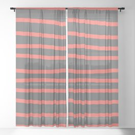 Living Coral Stripes on Gray Sheer Curtain