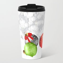 Christmas Baubles In Snow Travel Mug