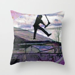 Deck Grab Champion - Stunt Scooter Art Throw Pillow