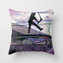 Deck Grab Champion - Stunt Scooter Art Throw Pillow