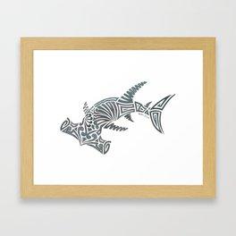 Tribal Hammerhead Shark Framed Art Print