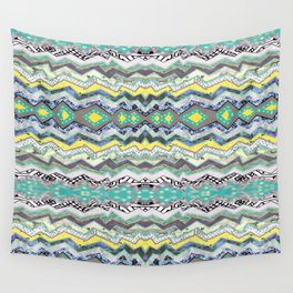 Teal Yellow White Midnight Aztec Wall Tapestry