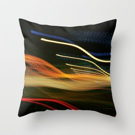 Moving Lights At Night II Throw Pillow