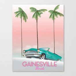 Gainesville Florida retro travel poster. Canvas Print