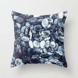 sea stones oval bw Throw Pillow