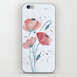 Red poppies in the sun floral watercolor painting iPhone Skin