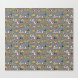 Forest Cute Animals and Birds Pattern Canvas Print