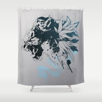 snow leopard Shower Curtains featuring Snow Leopard (Blue) by Hexstatic