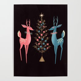 Midcentury Pink And Aqua Holiday At The North Pole Poster