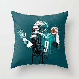 Sports art _ Nick Foles on green Throw Pillow
