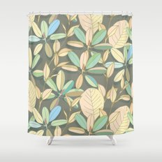 Leaf pattern   brown, pale yellow and green Shower Curtain