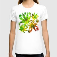 marijuana T-shirts featuring Marijuana Leaves Rasta Colors by BluedarkArt