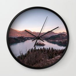 Sunset at Lake Bled, Slovenia Wall Clock