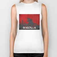 godzilla Biker Tanks featuring Godzilla by WatercolorGirlArt