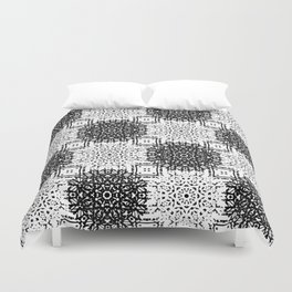 Black and White Gothic Lacy Mandala and Checker Tile Duvet Cover