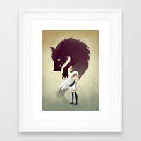 girl Framed Art Prints featuring Werewolf by Freeminds